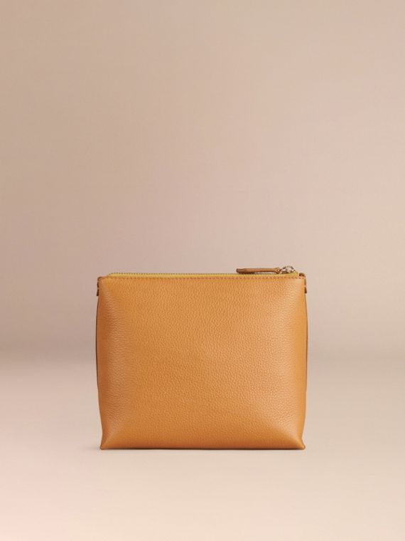 Ochre yellow Grainy Leather Zipped  Pouch Ochre Yellow - cell image 3