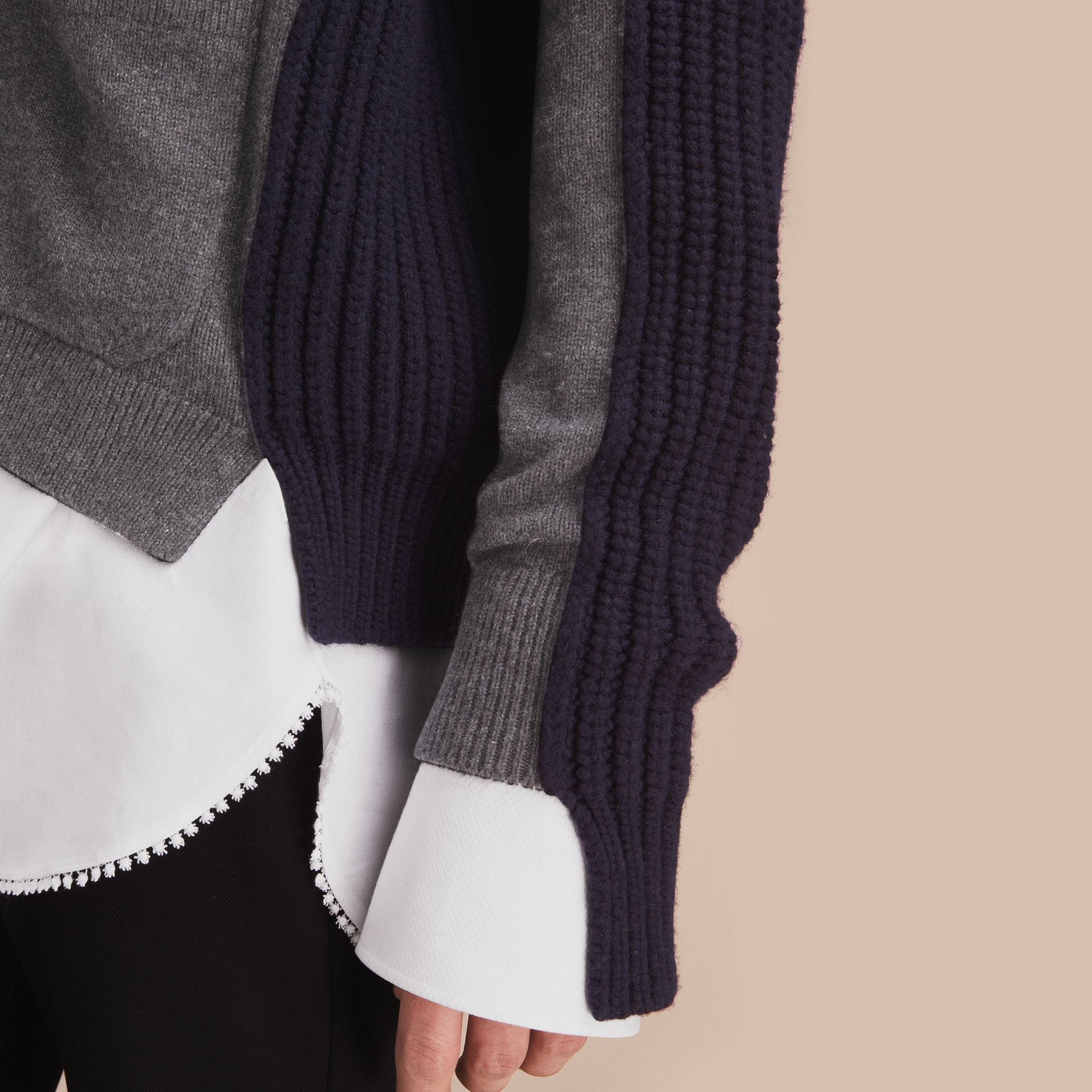 Two-tone Cashmere Cardigan with Ribbed Detail - gallery image 5