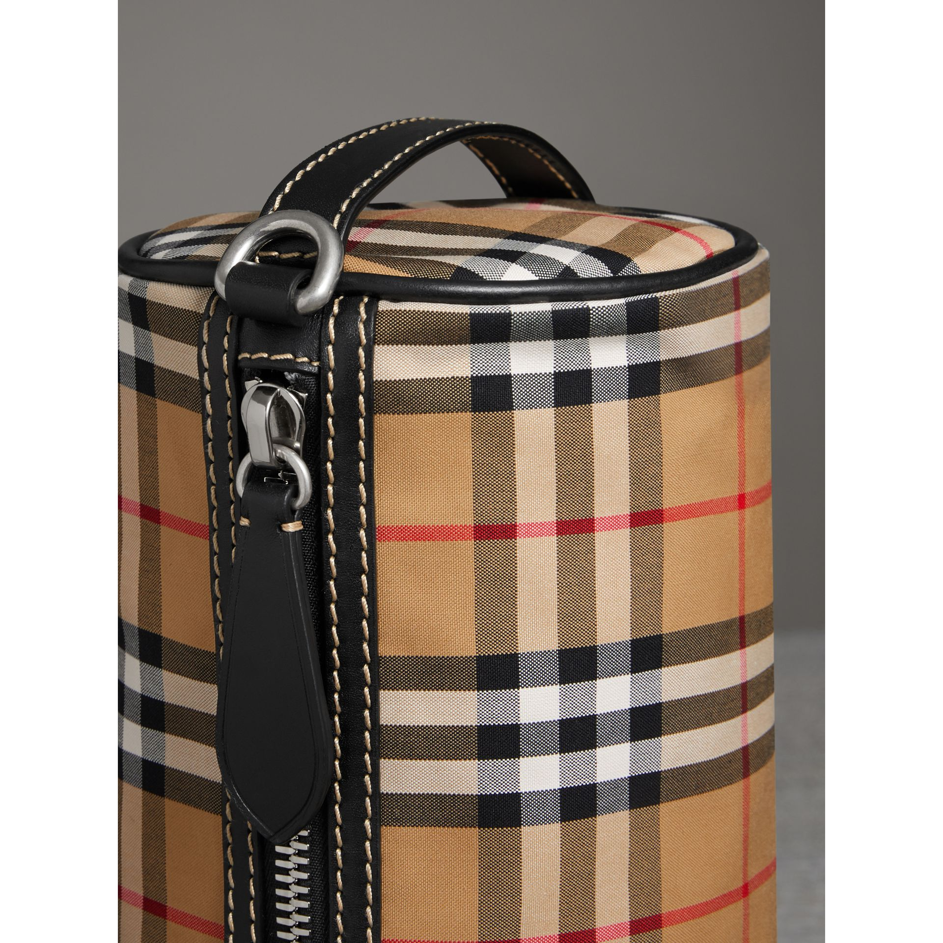 The Small Vintage Check and Leather Barrel Bag in Antique Yellow - Women | Burberry - gallery image 1
