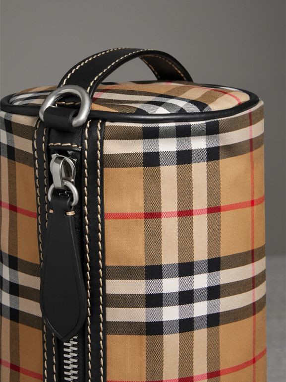 The Small Vintage Check and Leather Barrel Bag in Antique Yellow - Women | Burberry United States - cell image 1