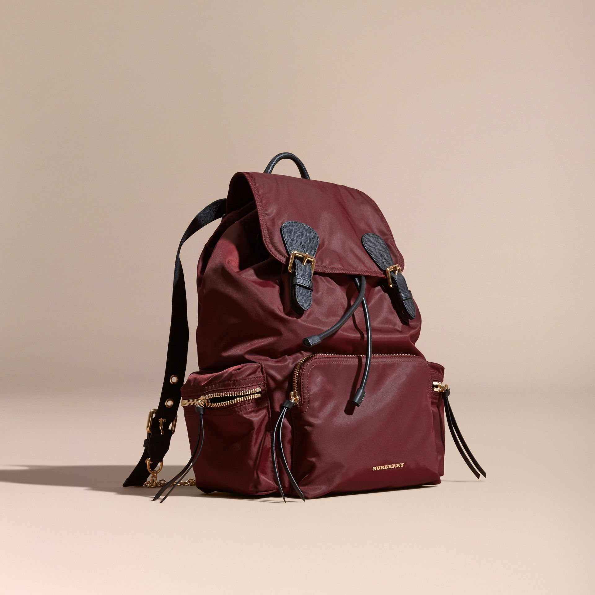 The Large Rucksack in Technical Nylon and Leather Burgundy Red - gallery image 1