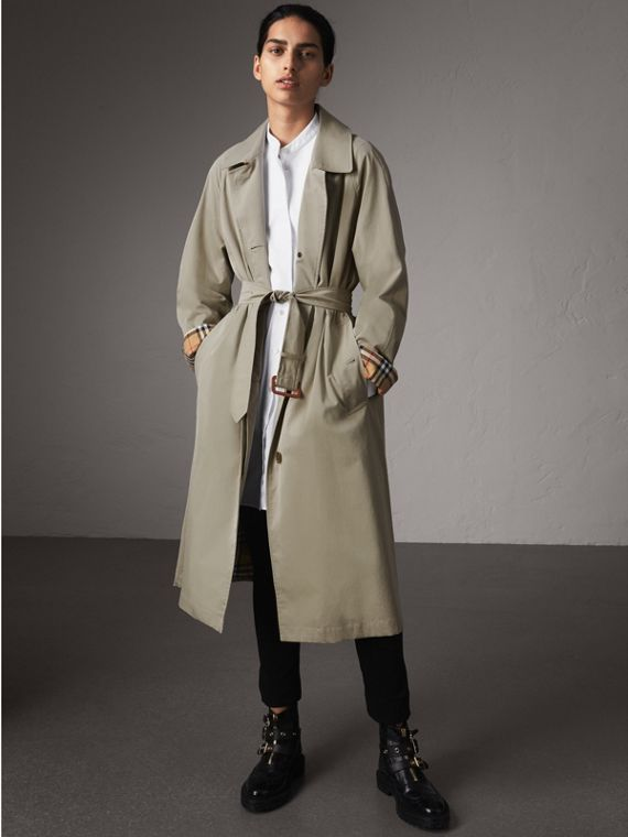 The Brighton – Longline Car Coat in Sandstone - Women | Burberry Australia