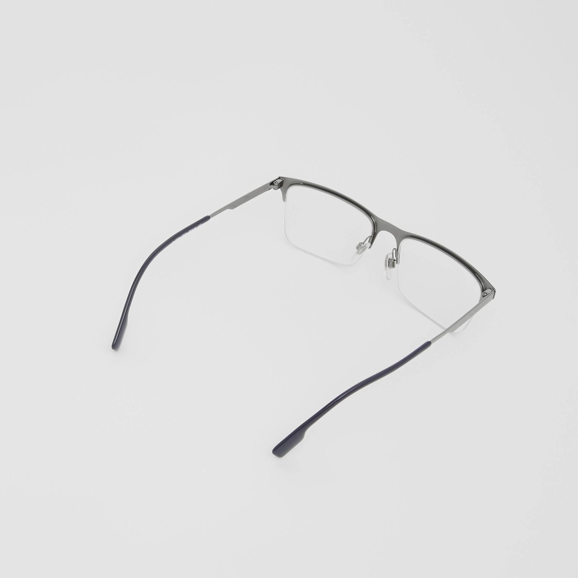 Rectangular Optical Frames in Deep Blue - Men | Burberry - gallery image 4