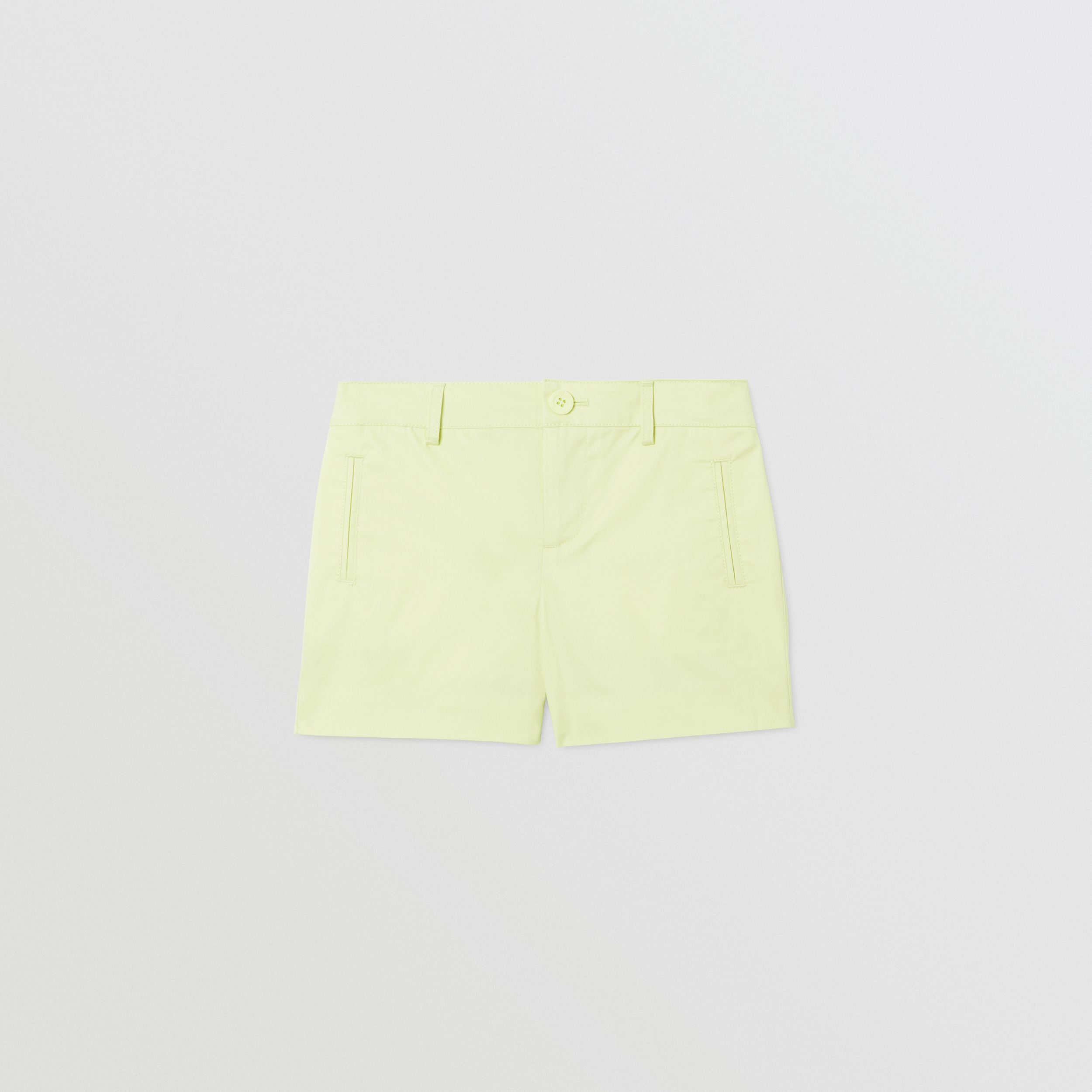 Embroidered Logo Cotton Shorts in Pistachio | Burberry - 1