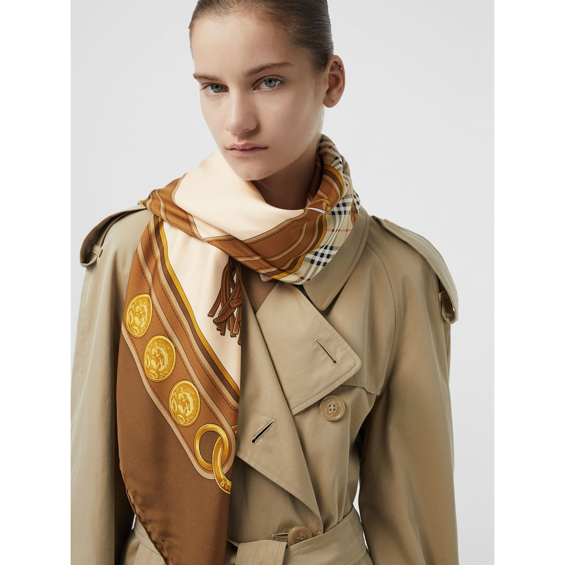 Reissued Archive Tassel Print Silk Square Scarf in Brown | Burberry - gallery image 2