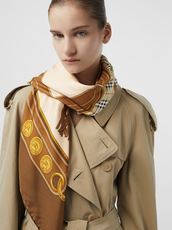 Reissued Archive Tassel Print Silk Square Scarf in Brown | Burberry - cell image 2