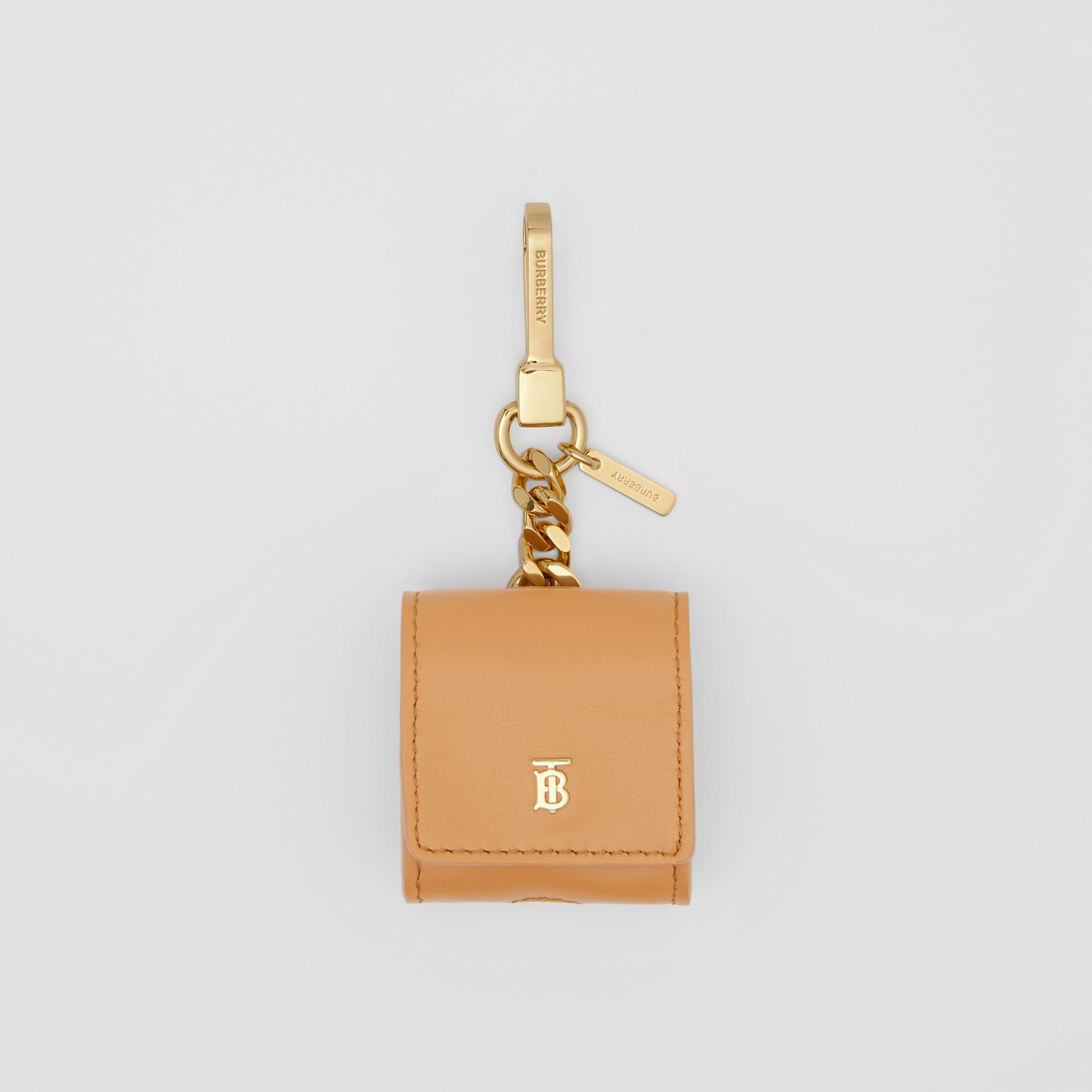 Grainy Leather AirPods Case in Warm Sand - Women | Burberry - gallery image 0