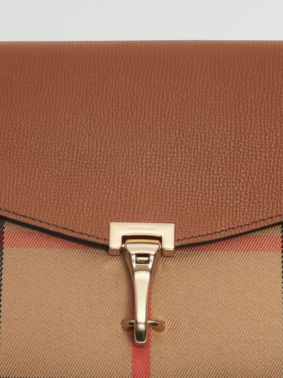 Small Leather and House Check Crossbody Bag in Tan - Women | Burberry - cell image 1