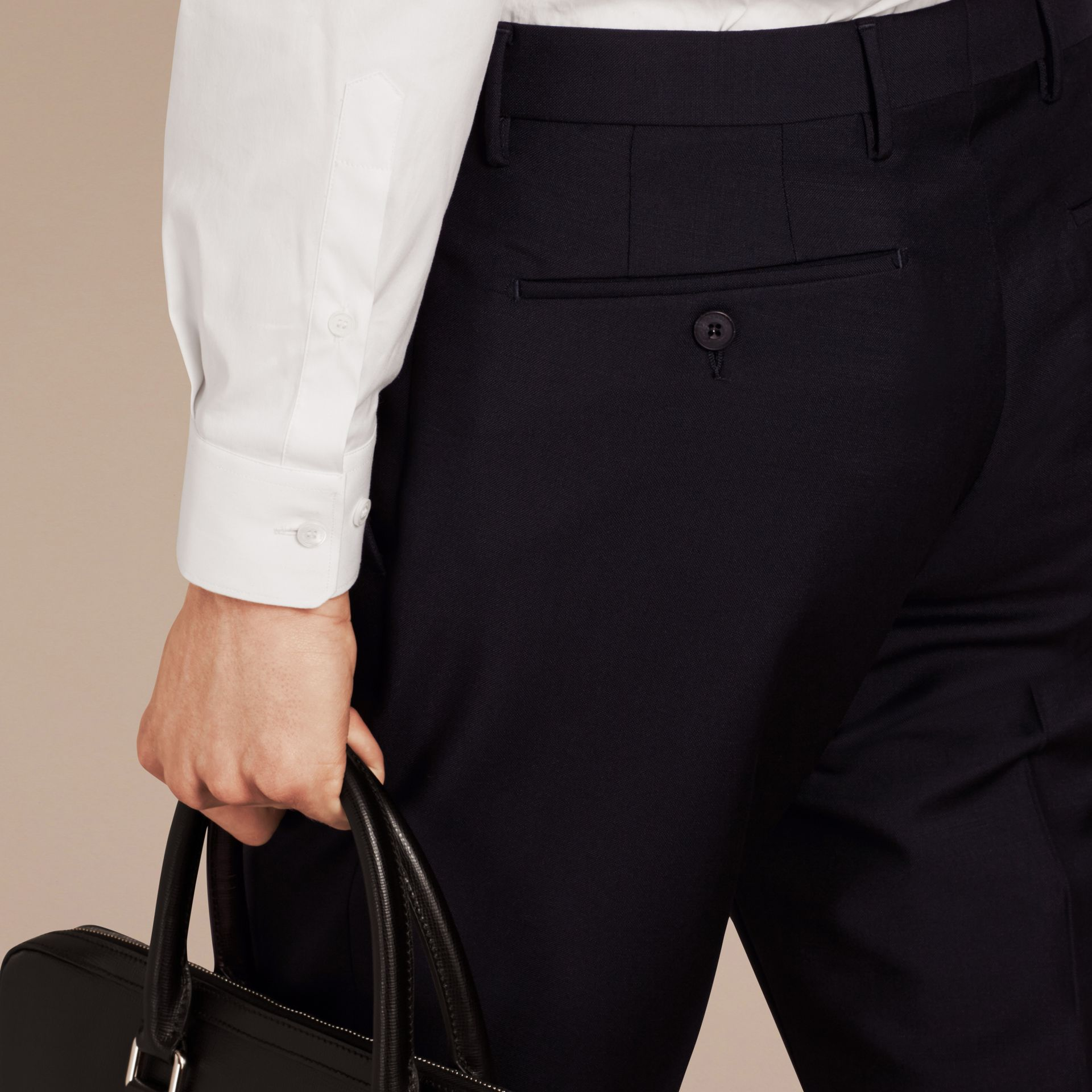 Slim Fit Wool Mohair Trousers in True Navy - Men | Burberry - gallery image 4