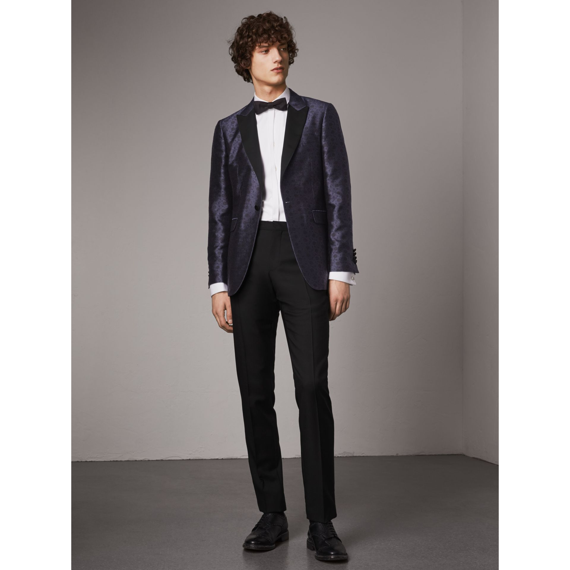 Soho Fit Silk Wool Jacquard Evening Jacket in Navy - Men | Burberry - gallery image 1
