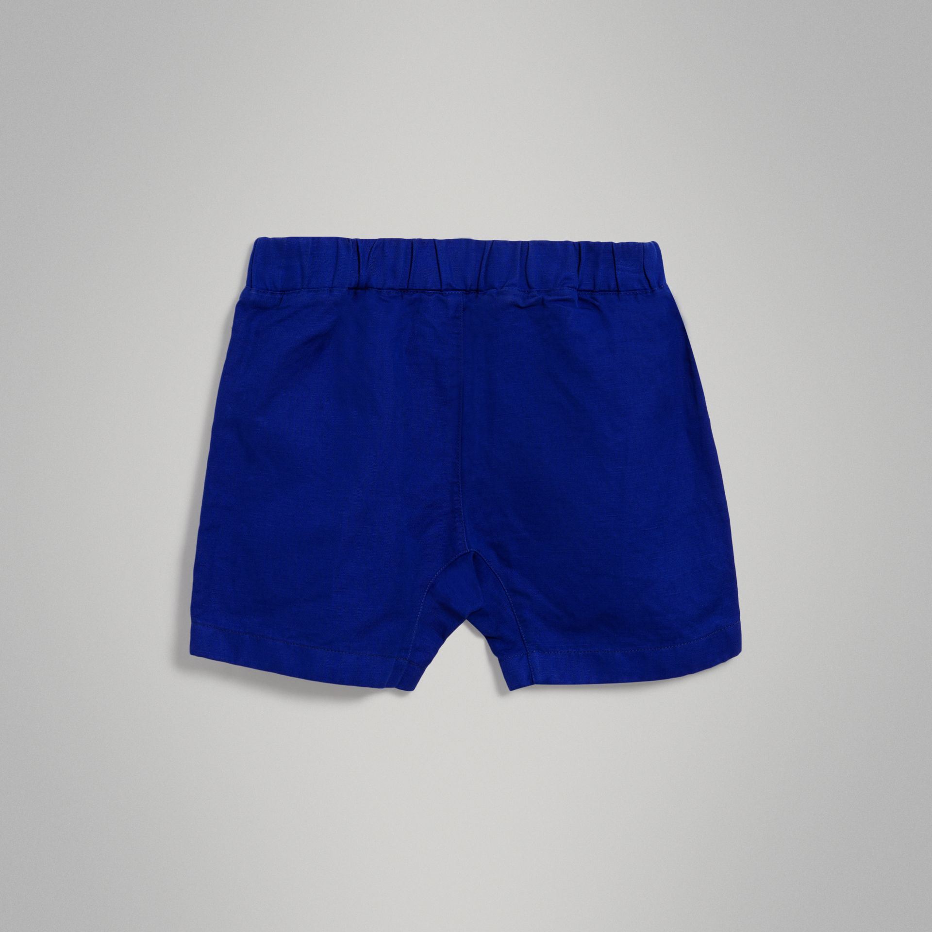 Drawcord Cotton Linen Twill Shorts in Brilliant Blue | Burberry - gallery image 3