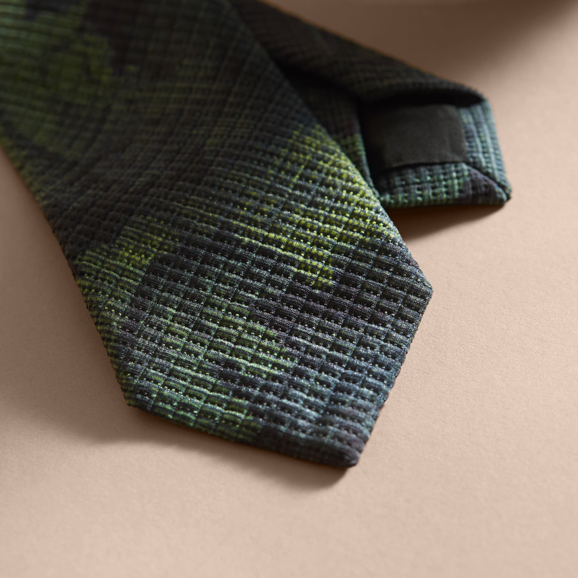 Modern Cut Tapestry Print Tie Racing Green - gallery image 2