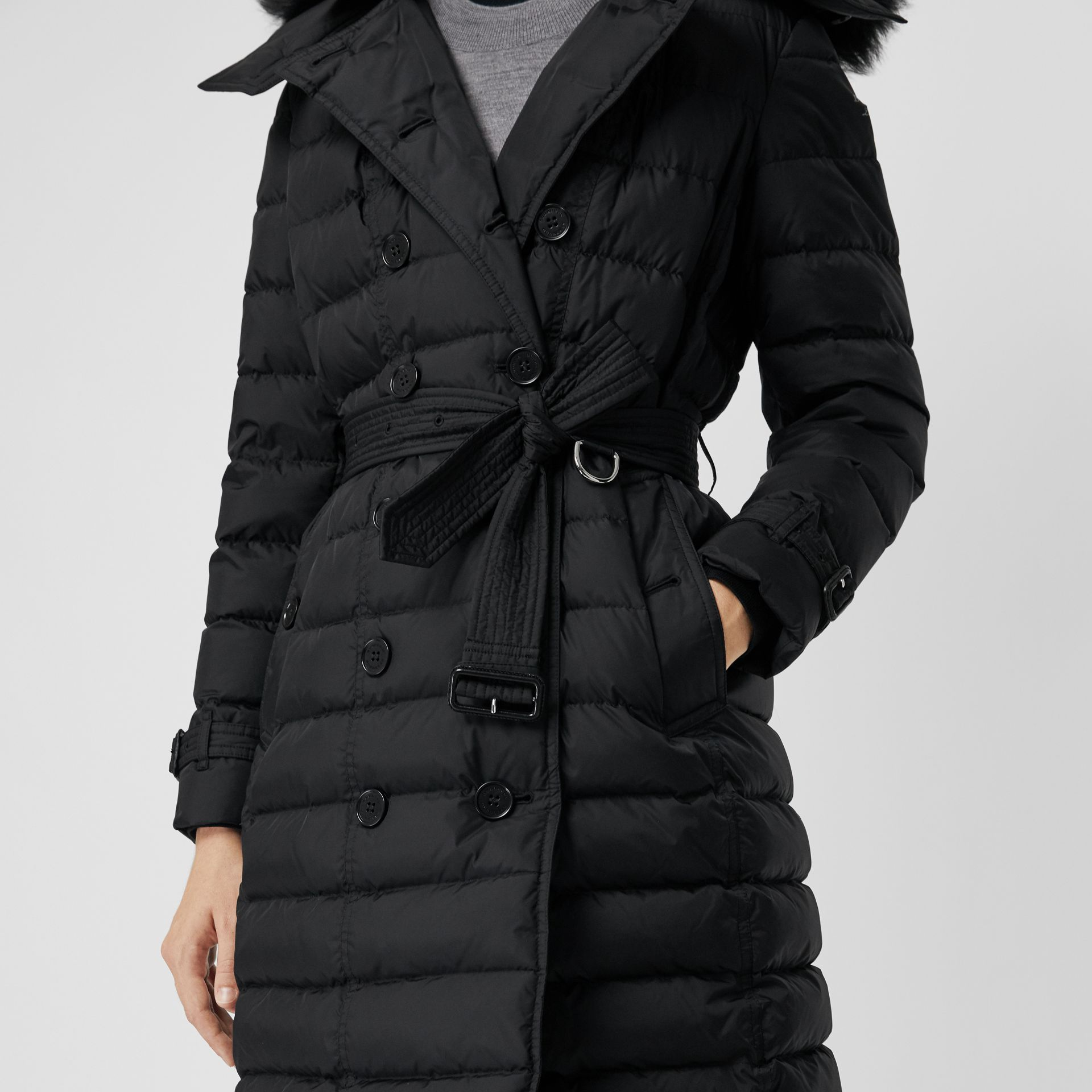 Detachable Hood Down-filled Puffer Coat in Black - Women | Burberry - gallery image 4