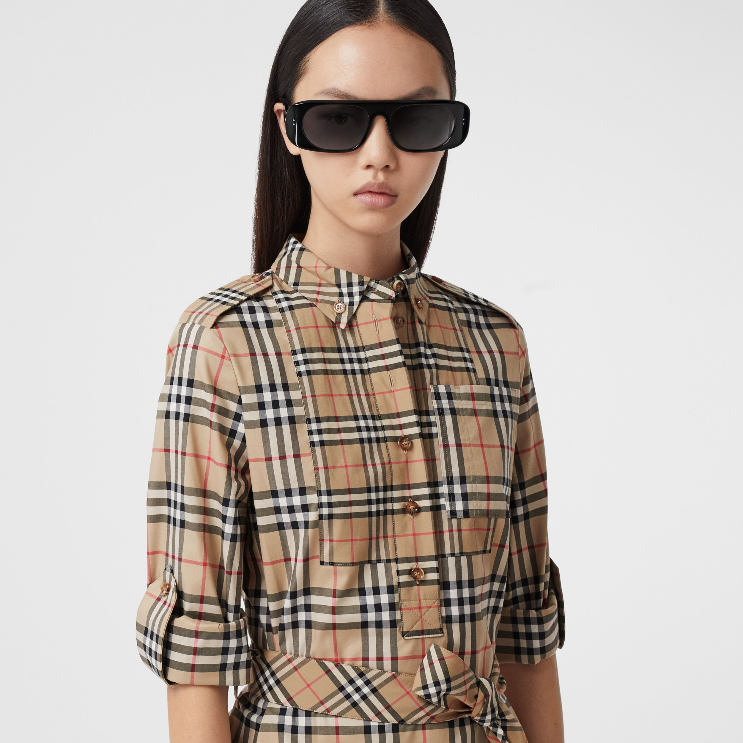 Contrast Check Stretch Cotton Tie-waist Shirt Dress in Archive Beige - Women | Burberry - 2