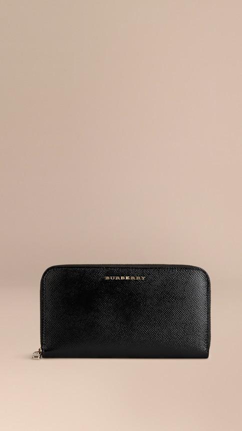 Black Patent London Leather Ziparound Wallet Black - Image 1