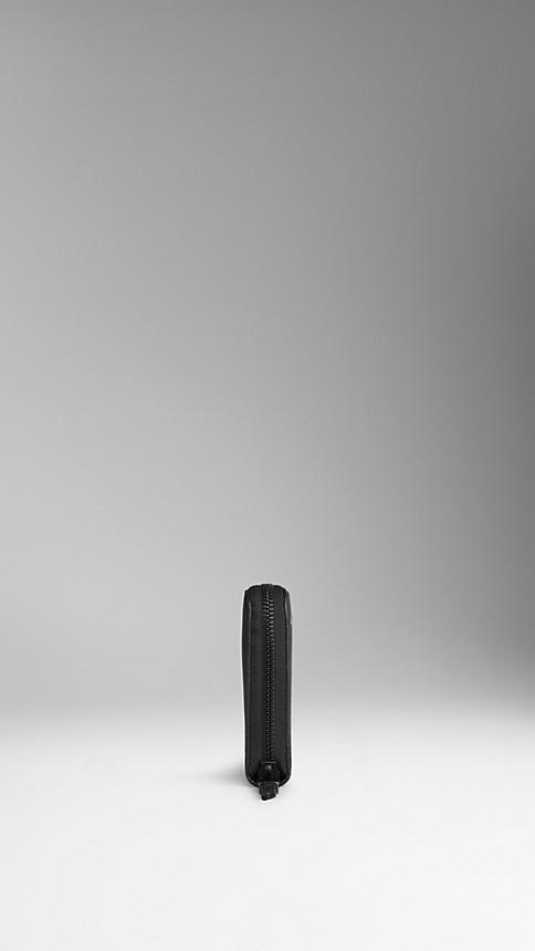 Noir Portefeuille zippé en cuir London - Image 3