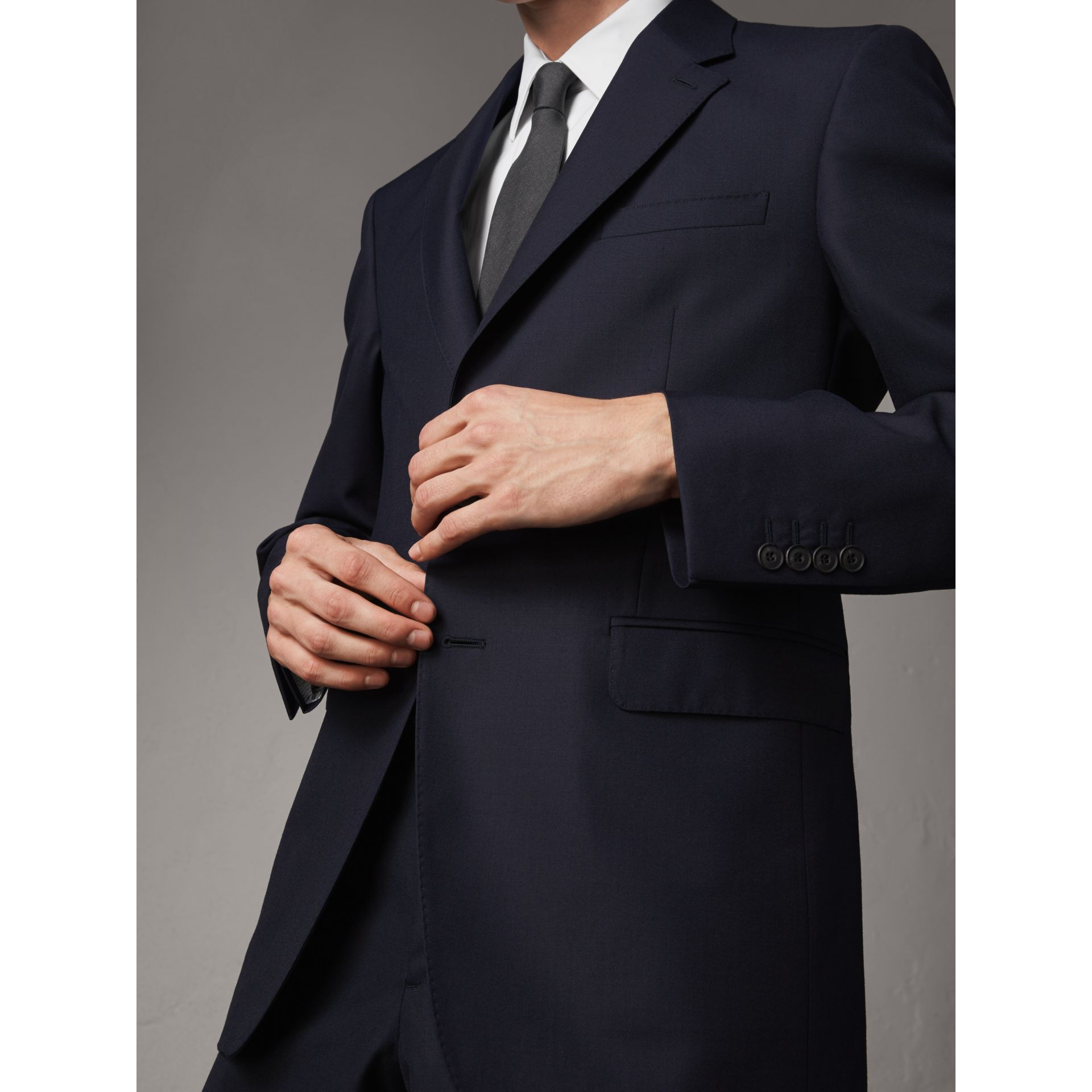 Classic Fit Wool Part-canvas Suit in Navy - Men | Burberry - gallery image 5
