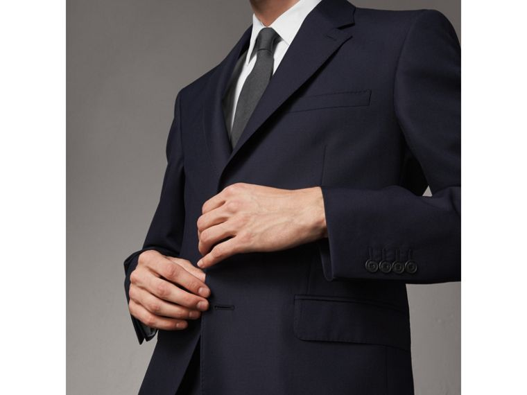 Classic Fit Wool Part-canvas Suit in Navy - Men | Burberry Hong Kong - cell image 4