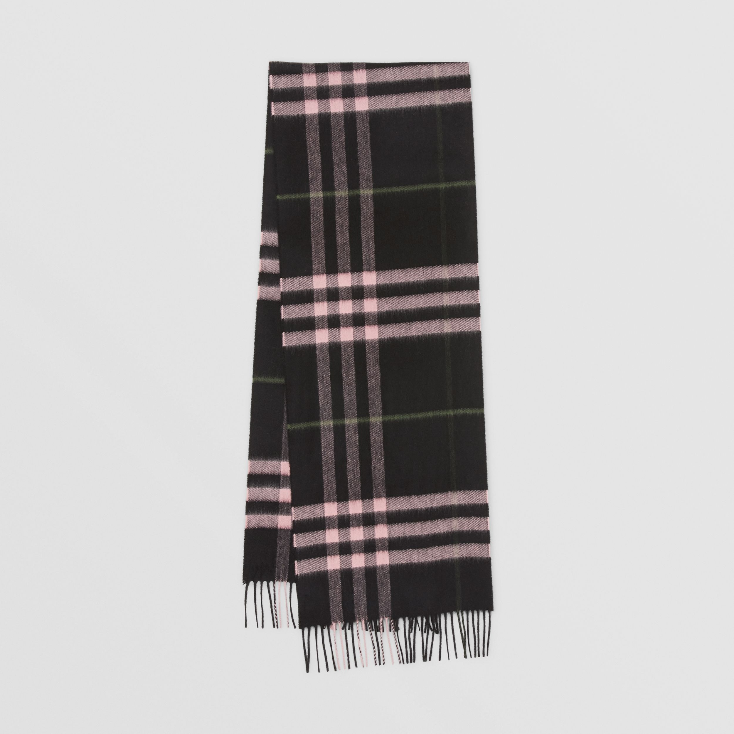 The Classic Check Cashmere Scarf in Black/peony Pink | Burberry - 1