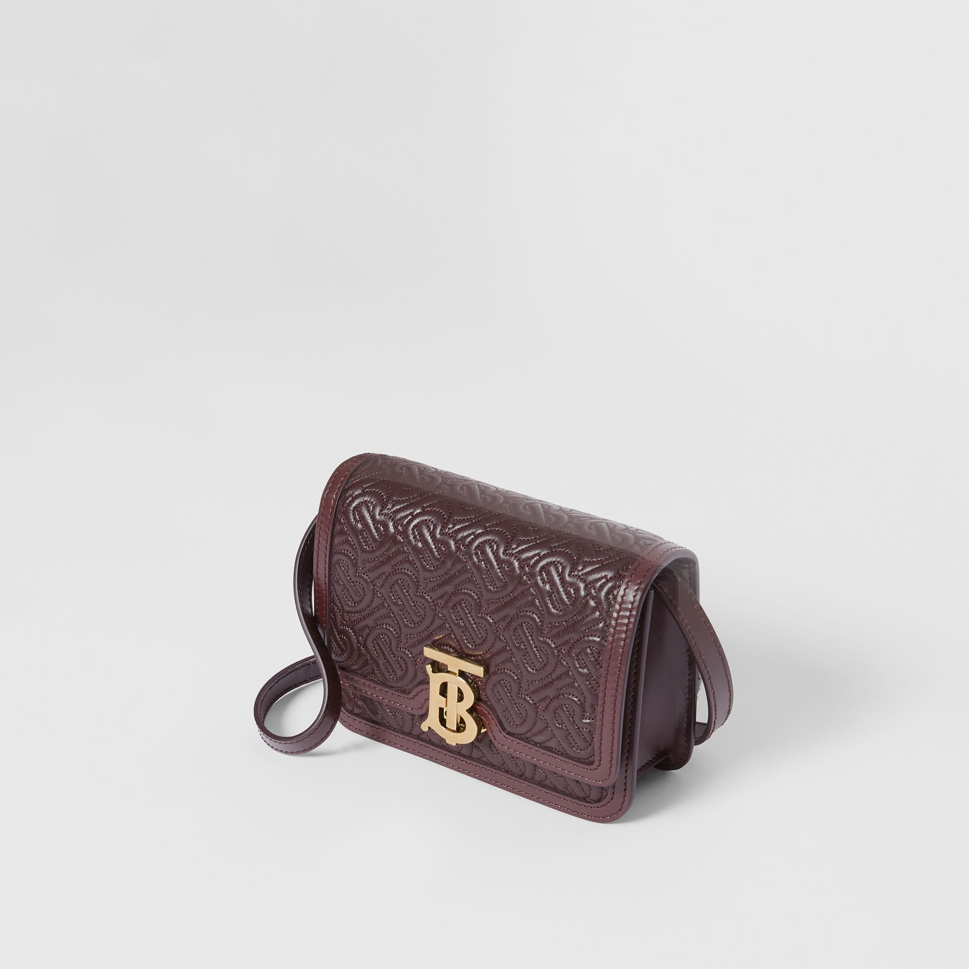 Mini Quilted Monogram Lambskin TB Bag in Dark Burgundy - Women | Burberry - gallery image 3