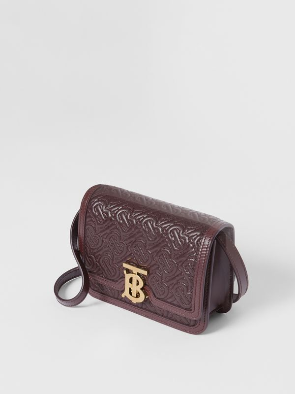 Mini Quilted Monogram Lambskin TB Bag in Dark Burgundy - Women | Burberry United Kingdom - cell image 3