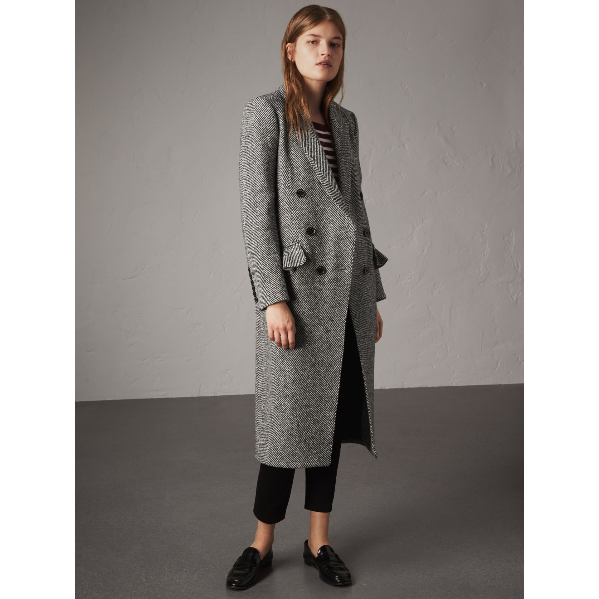 Donegal Herringbone Wool Tweed Tailored Coat - Women | Burberry Australia - gallery image 1