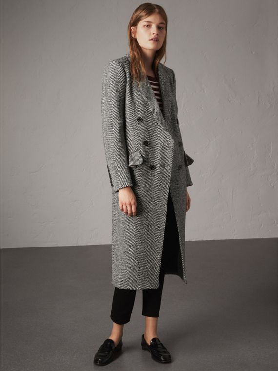 Donegal Herringbone Wool Tweed Tailored Coat - Women | Burberry Australia