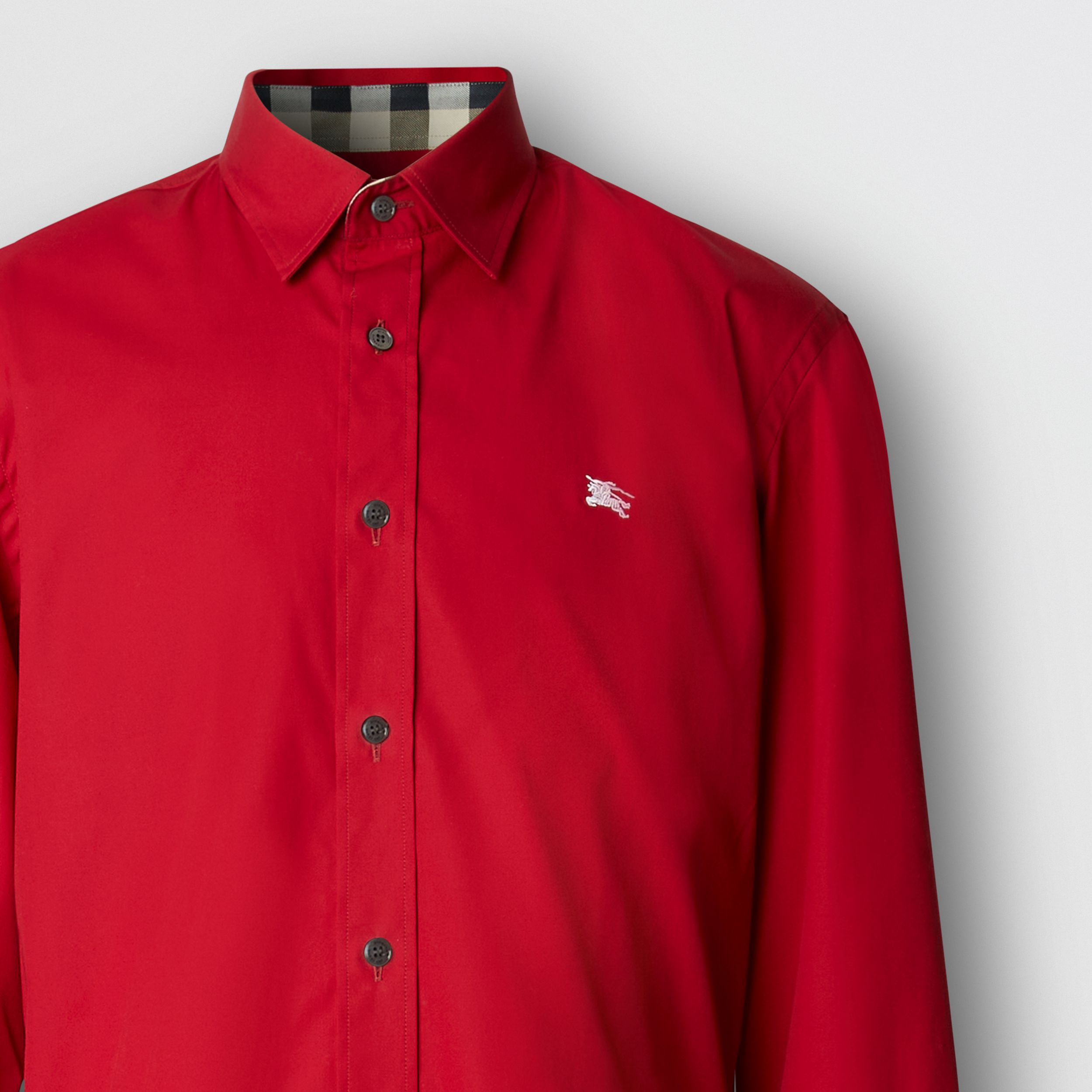 Embroidered EKD Stretch Cotton Poplin Shirt in Parade Red - Men | Burberry - 2