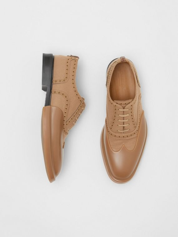 Toe Cap Detail Wool Oxford Brogues in Warm Camel