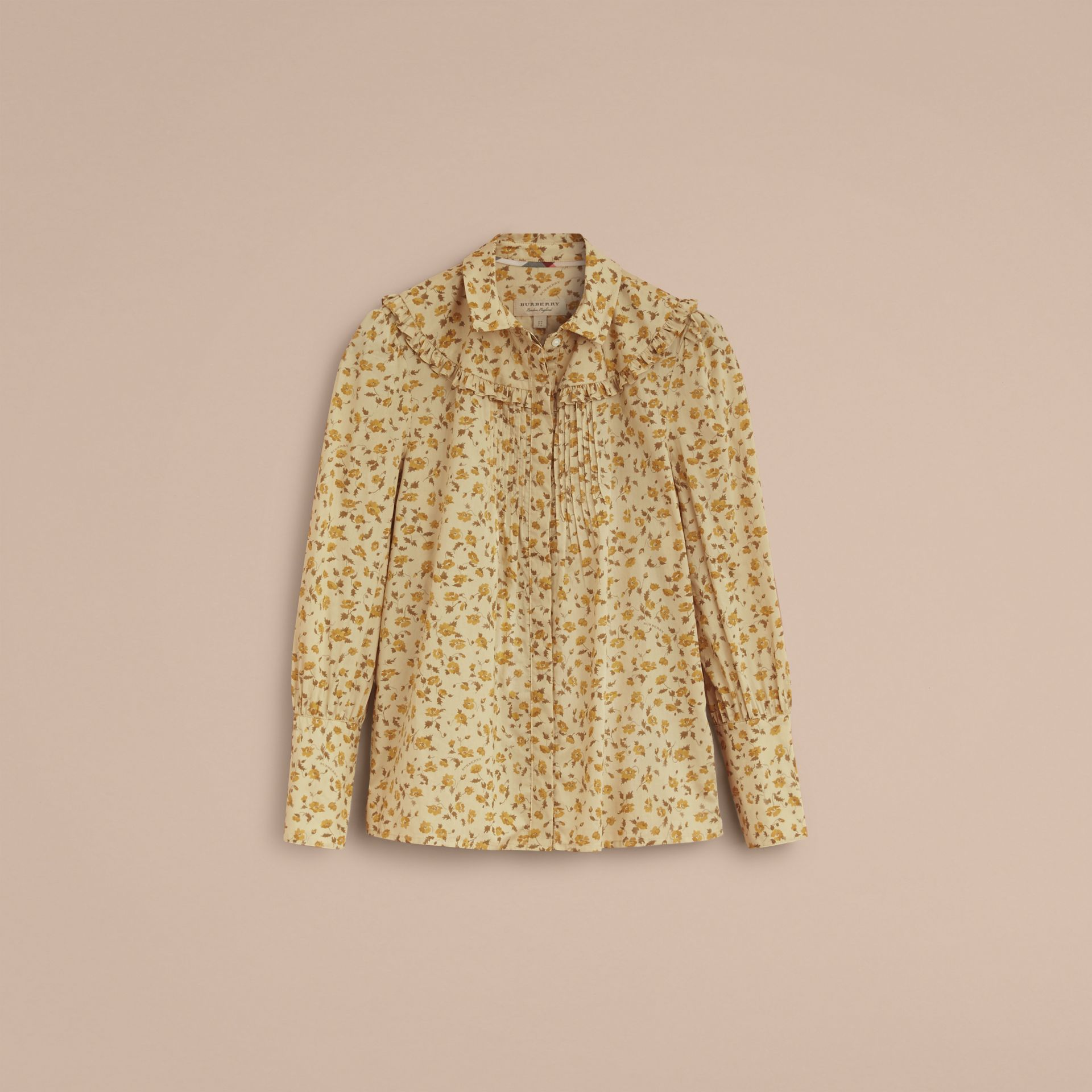 Ruffle Yoke Floral Print Cotton Shirt in Chalk Yellow - Women | Burberry - gallery image 4
