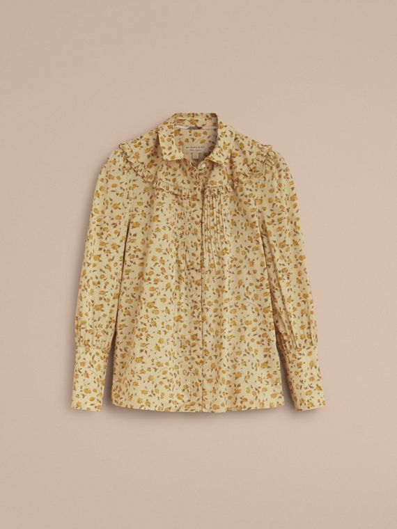 Ruffle Yoke Floral Print Cotton Shirt in Chalk Yellow - Women | Burberry - cell image 3