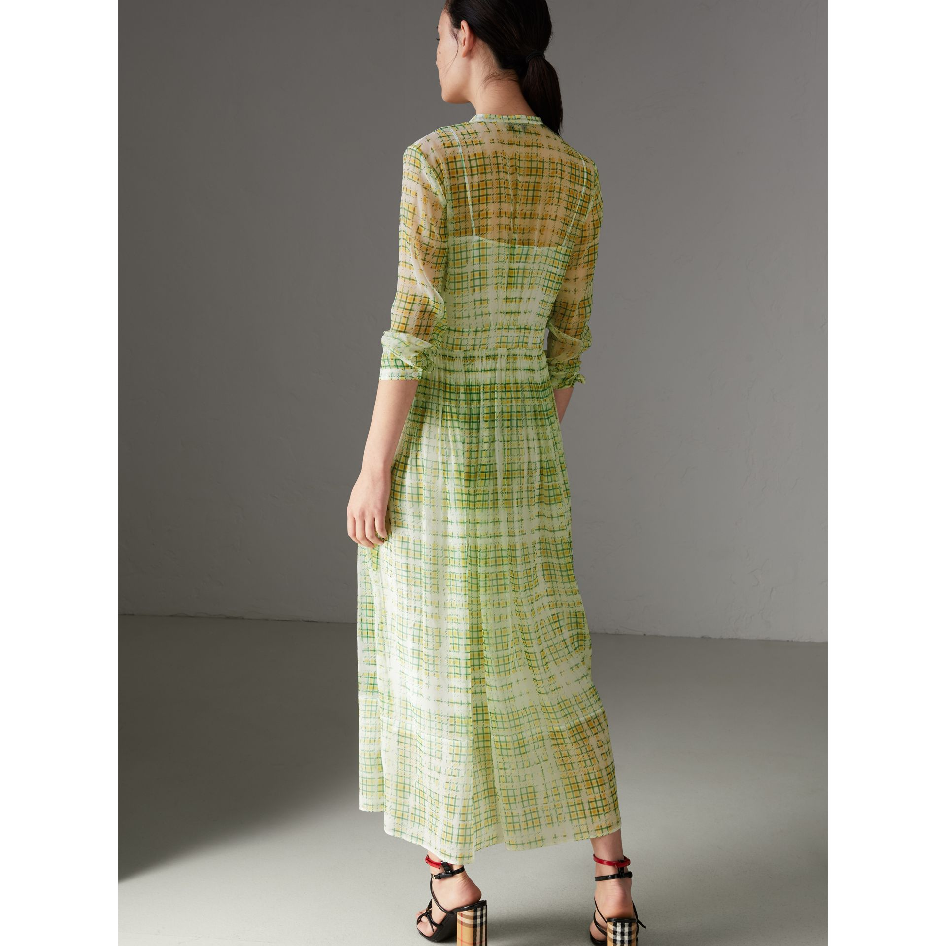 Scribble Check Print Silk Dress in Yellow - Women | Burberry - gallery image 2