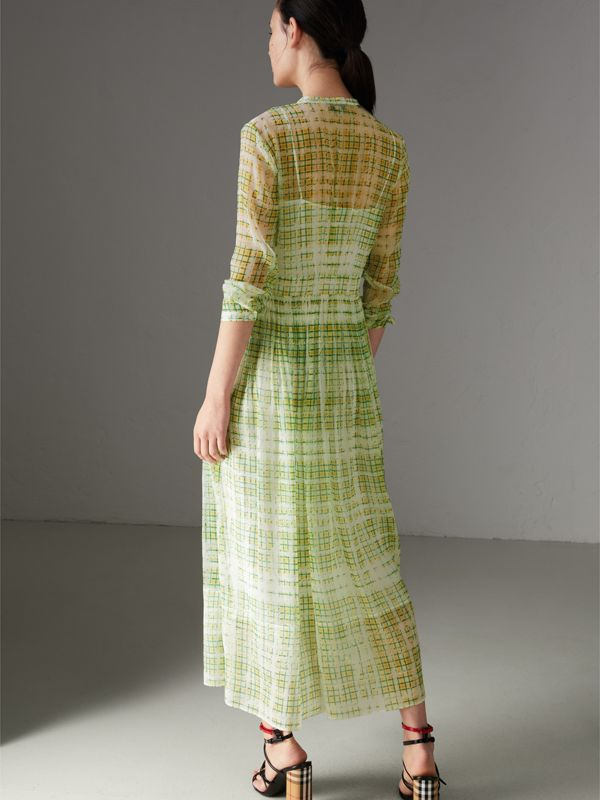Scribble Check Print Silk Dress in Yellow - Women | Burberry - cell image 2