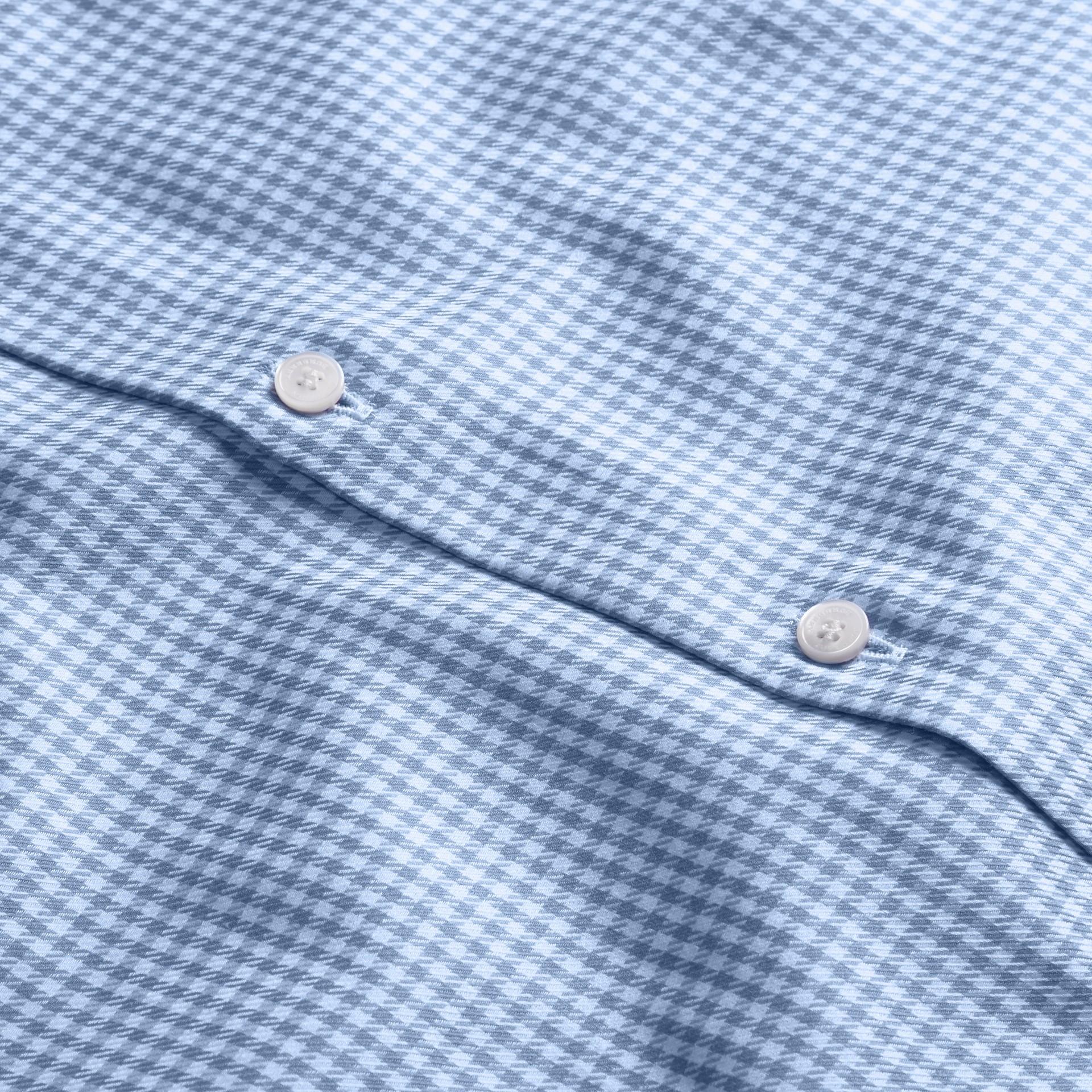 Bleu moyen Chemise moderne en coton à motif check avec col boutonné Bleu Moyen - photo de la galerie 2