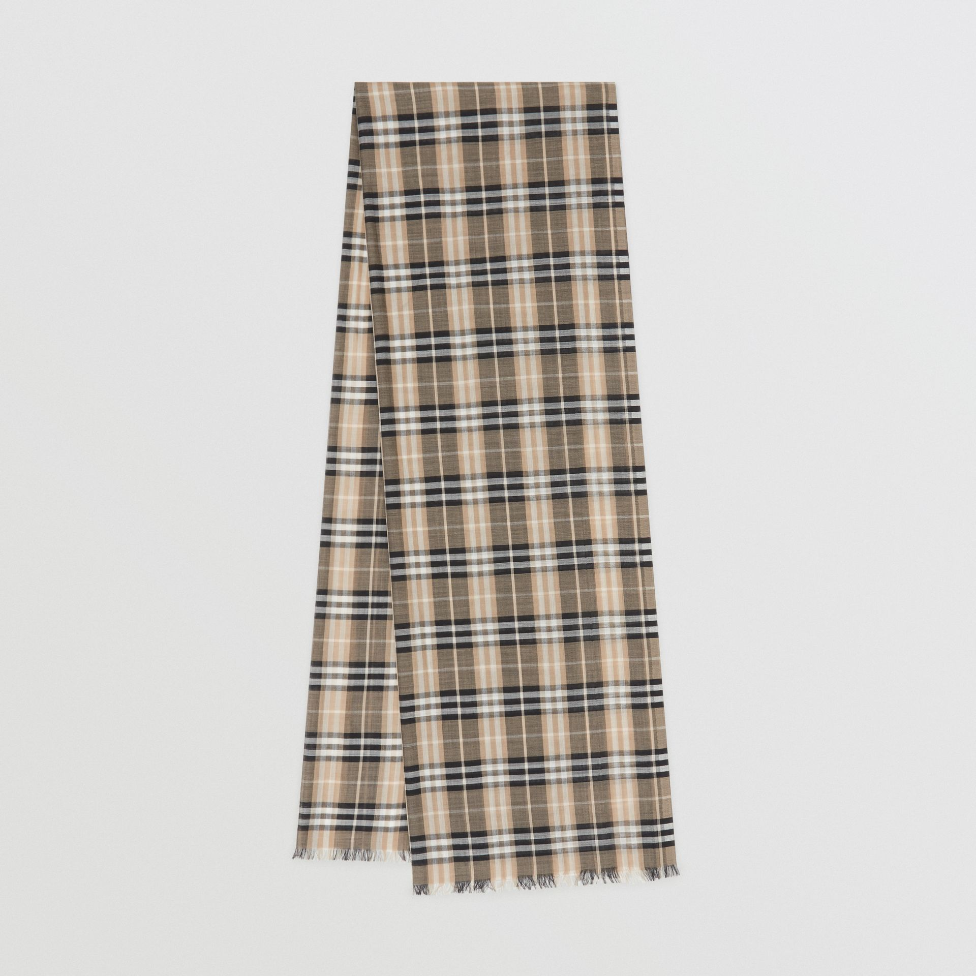 Vintage Check Lightweight Wool Silk Scarf in Pale Honey | Burberry Singapore - gallery image 0