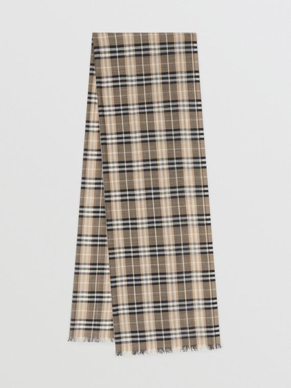 Leichter Schal aus Wolle und Seide mit Vintage Check-Muster (Helles Honiggelb)