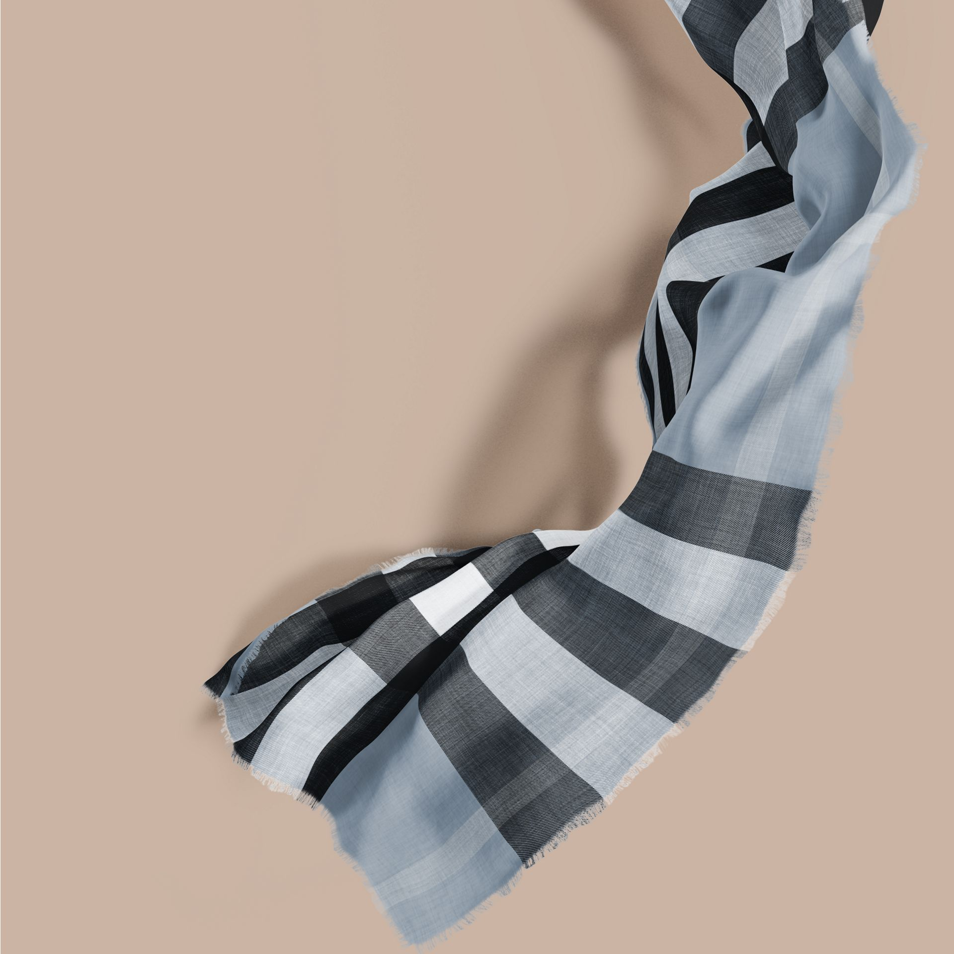 The Lightweight Cashmere Scarf in Check in Dusty Blue - gallery image 1