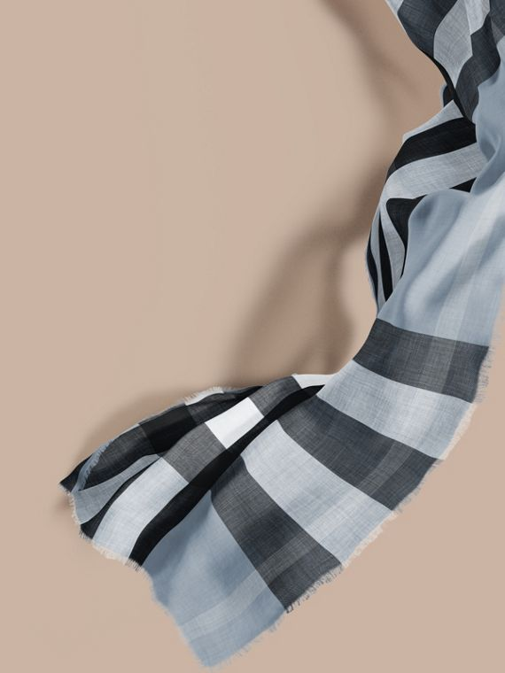 The Lightweight Cashmere Scarf in Check Dusty Blue