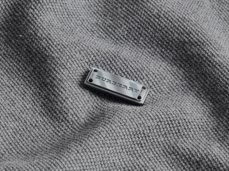 Grigio medio mélange Polo in cotone piqué con finiture a contrasto Grigio Medio Mélange - cell image 1