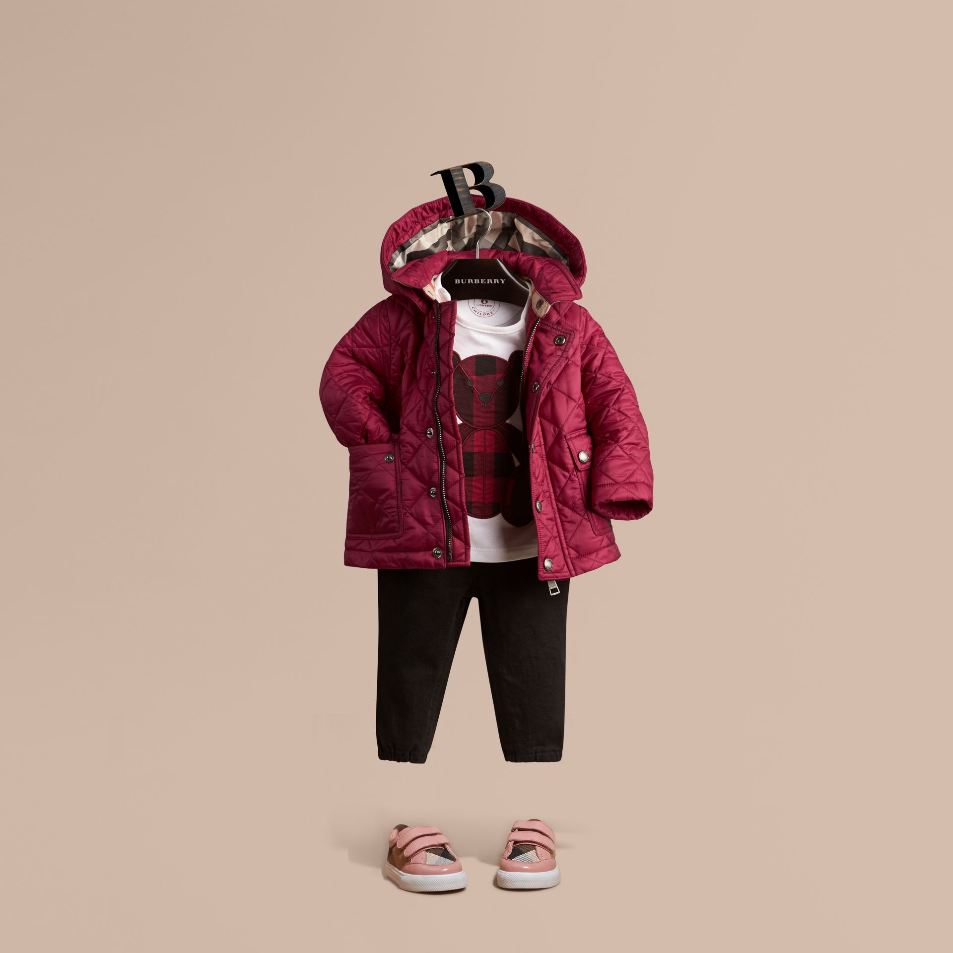 Quilted Jacket with detachable hood in Fritillary Pink - Girl | Burberry - gallery image 0