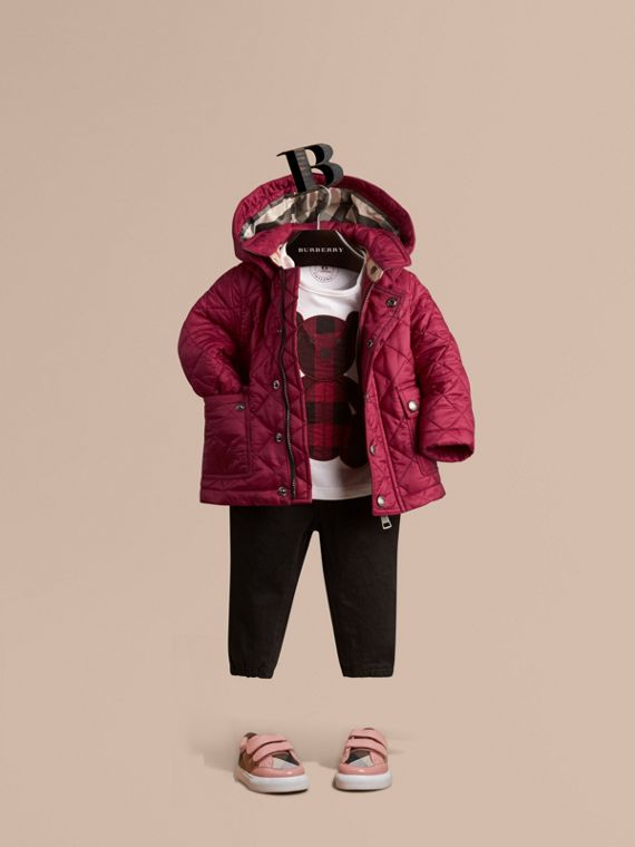 Quilted Jacket with detachable hood in Fritillary Pink