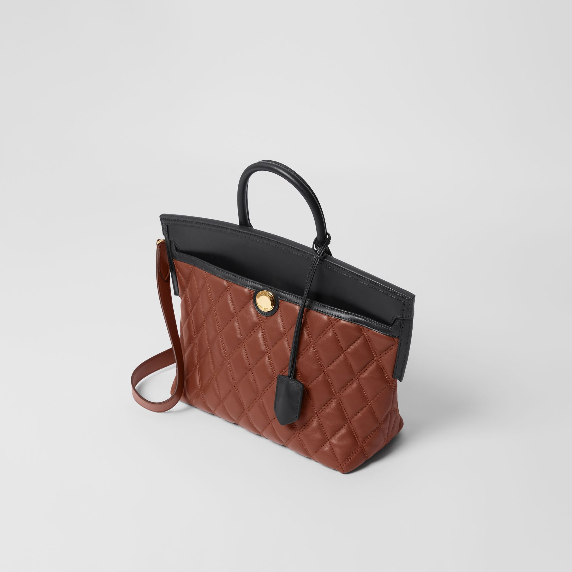 Small Quilted Lambskin Society Top Handle Bag in Tan - Women | Burberry United Kingdom - gallery image 3