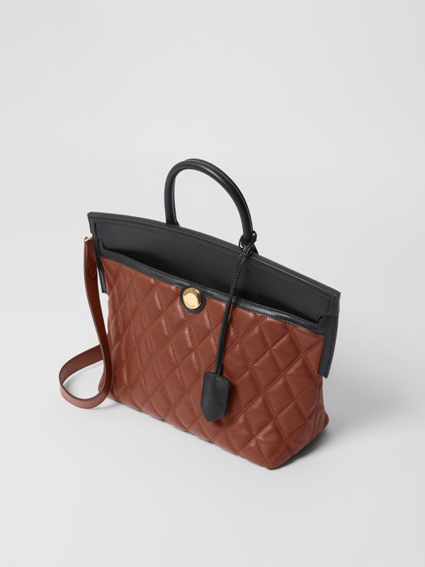 Small Quilted Lambskin Society Top Handle Bag in Tan - Women | Burberry United Kingdom - cell image 3
