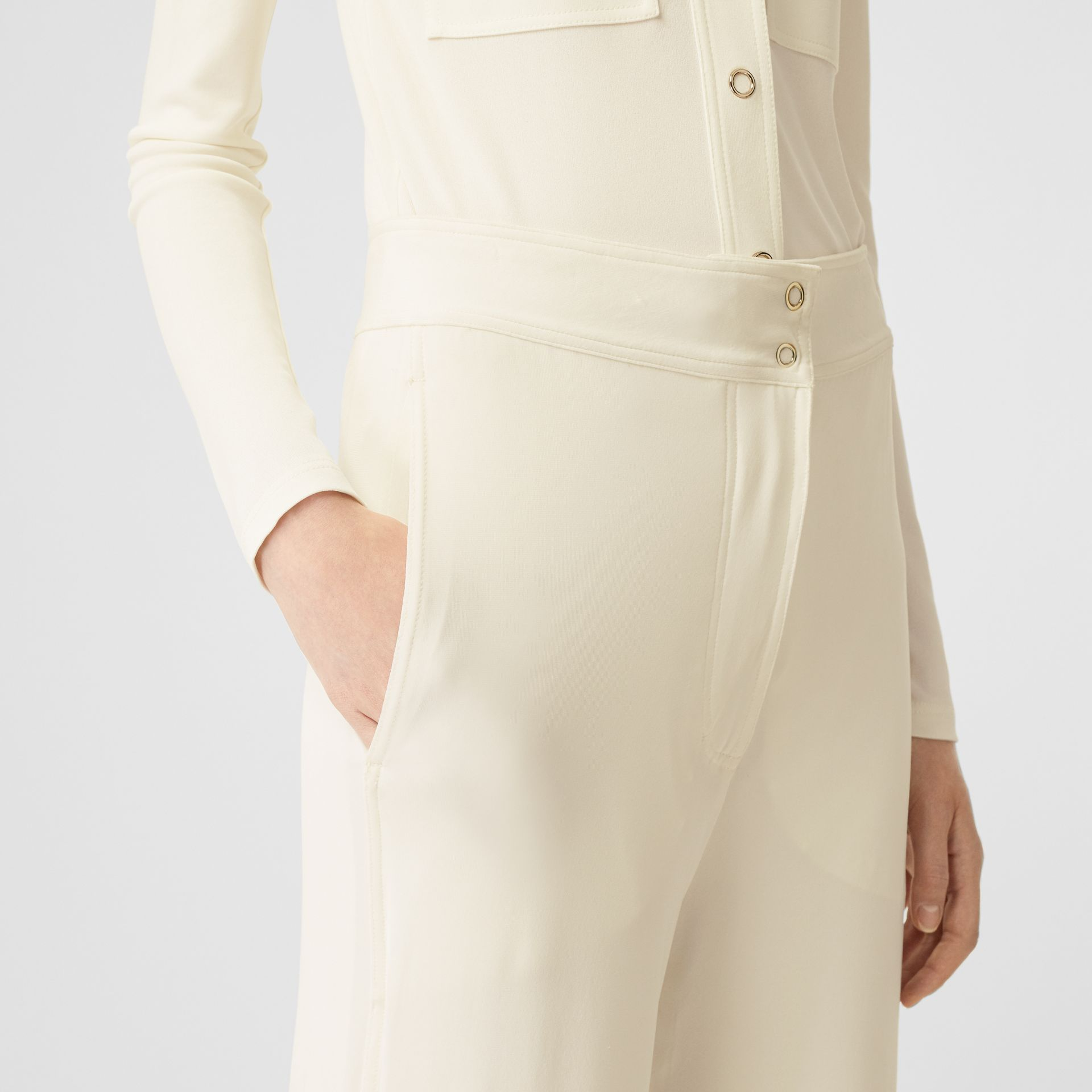 Jersey Wide-leg Trousers in Off White - Women | Burberry - gallery image 1