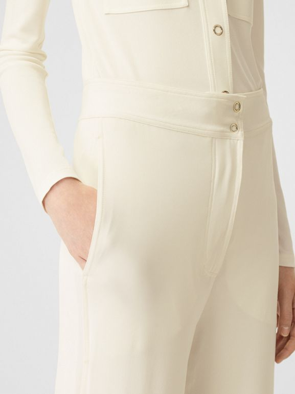 Jersey Wide-leg Trousers in Off White - Women | Burberry - cell image 1
