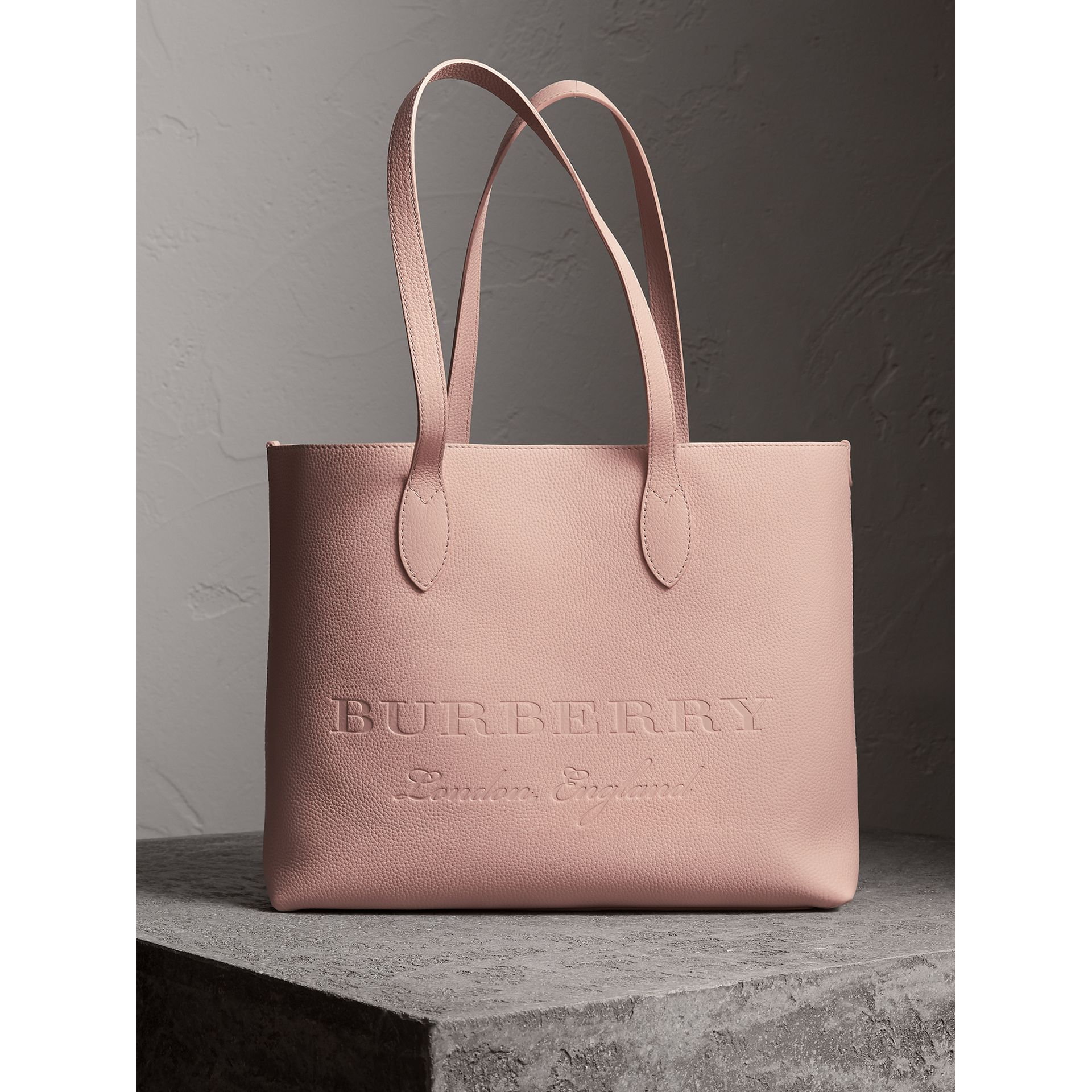 Large Embossed Leather Tote in Pale Ash Rose - Women | Burberry - gallery image 0