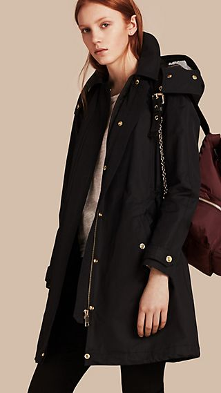 Hooded Cotton Blend Parka with Detachable Warmer