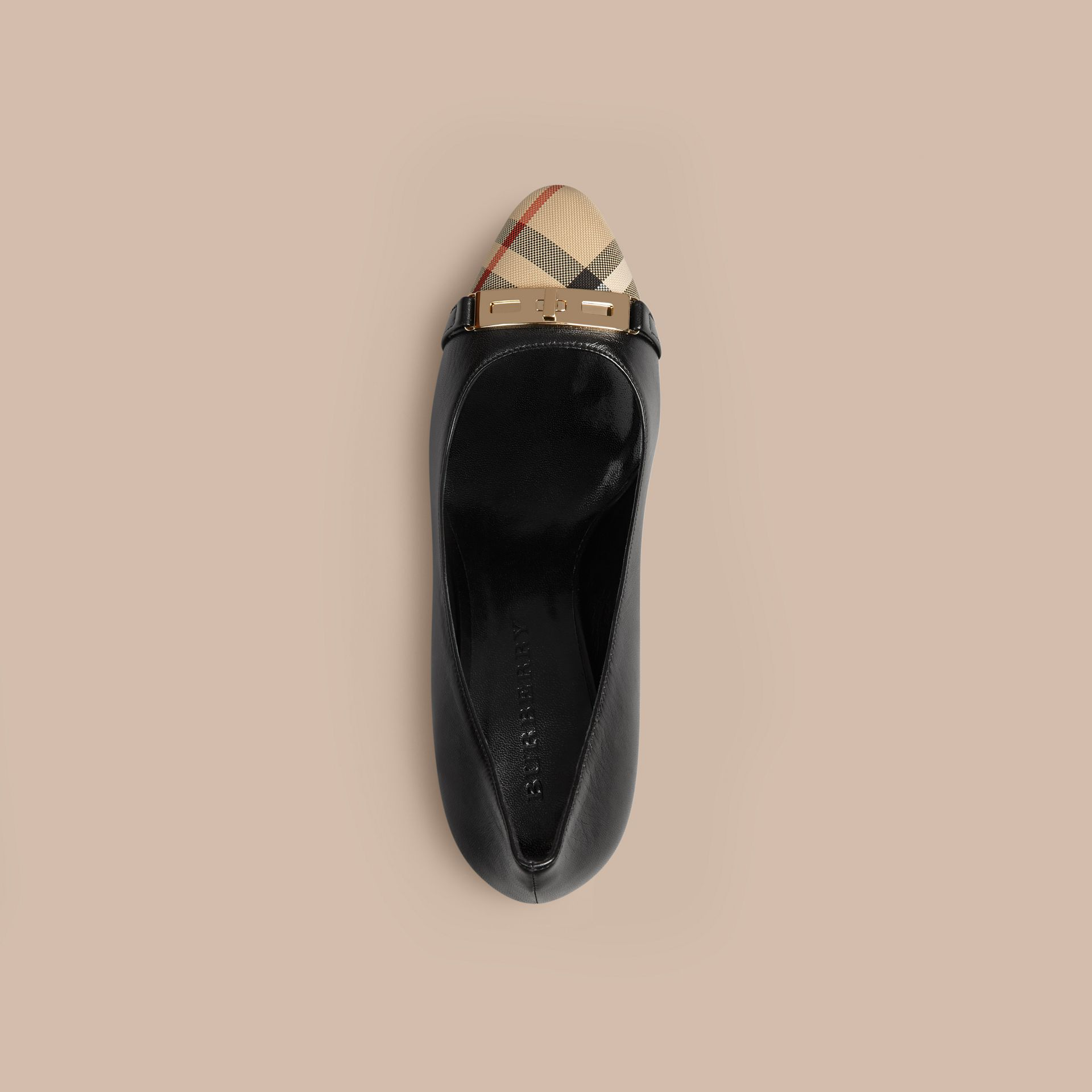 Horseferry Check Leather Pumps in Black - Women | Burberry - gallery image 3