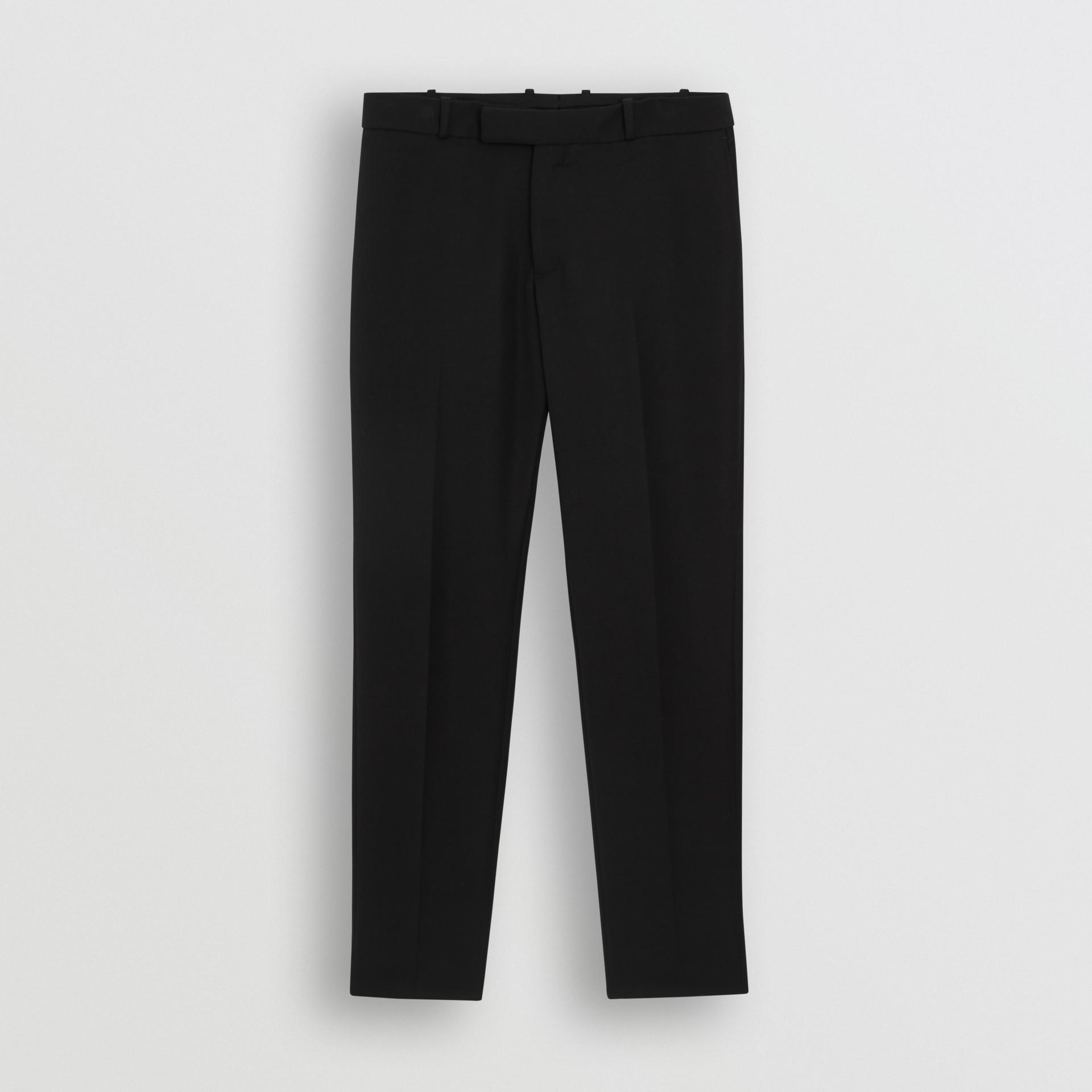 Soho Fit Bullion Stripe Wool Twill Tailored Trousers in Black - Men | Burberry - gallery image 3
