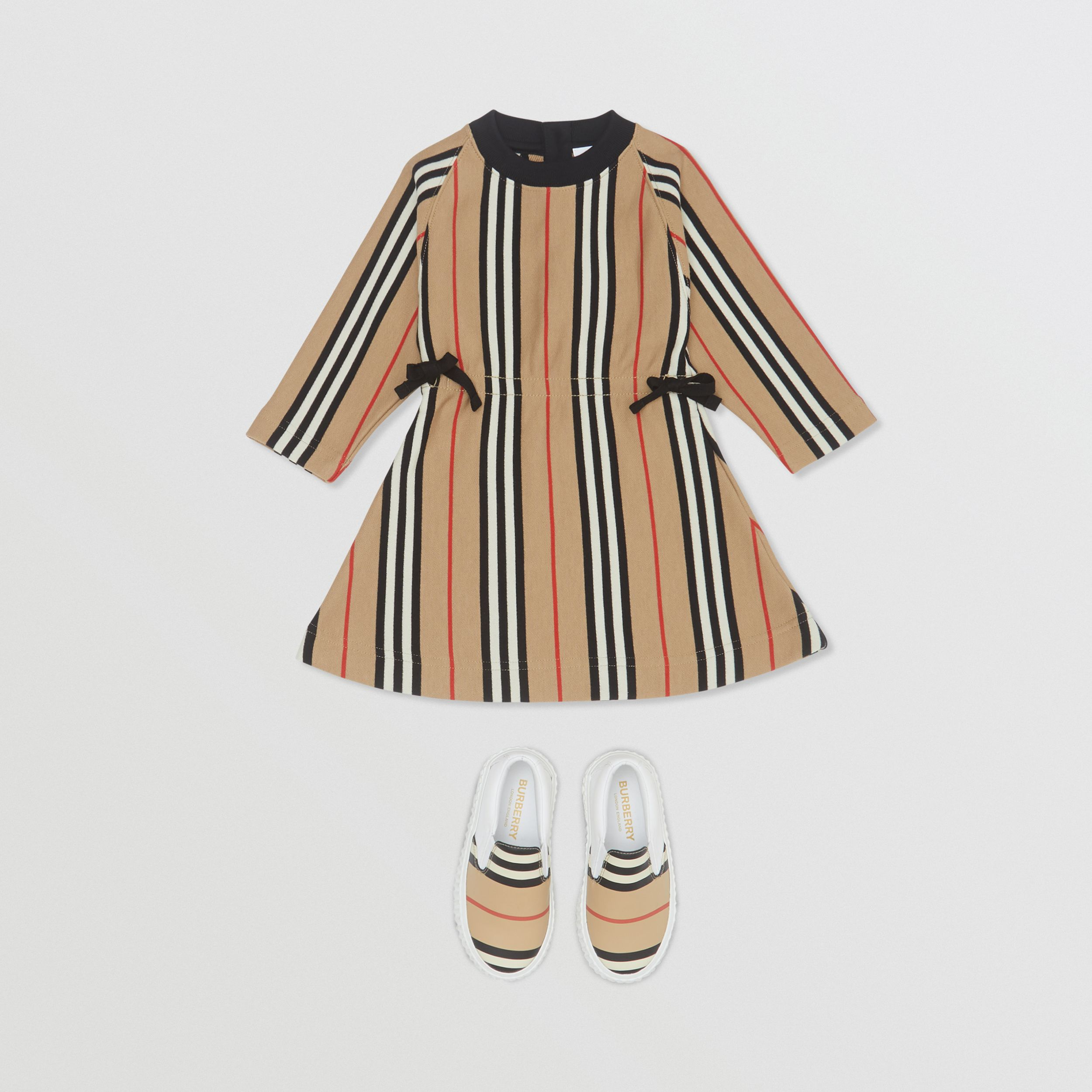 Long-sleeve Icon Stripe Cotton Dress in Archive Beige - Children | Burberry - 3
